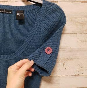 Moda international button sleeve sweater t…